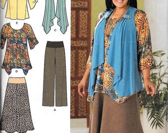 Simplicity 2195 Khaliah Ali Tunic Pants Skirt Vest Sewing Pattern Size 10, 12, 14, 16, 18