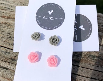 Shabby Chic Rosette Earrings Set-Rosette Earrings-Dainty Earrings