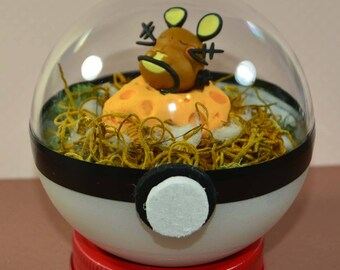 Pokemon Terrarium with Sleeping Dedenne Diorama, Pokeball Terrarium with stand, 4 inch, Forest Environment, Custom Orders are available