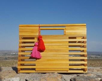 Wood Bag / Square Bag / Wood Purse / Tassel Clutch / Tassel Basket Bag / Wood Purse / Eco friendly Sustainable / Wooden Bag