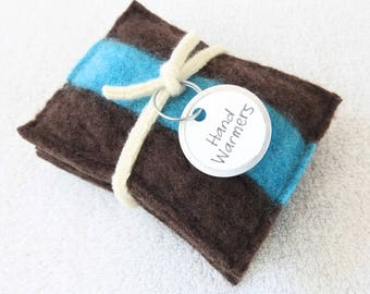 Pocket Hand Warmers BROWN CASHMERE Cabled Felted Sweater Wool Handwarmers Reusble Rice Bags Ecofriendly Unisex Gift Under 10 by WormeWoole