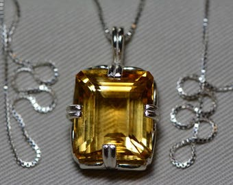 Citrine Necklace, Certified 19.40 Carat Citrine Pendant Appraised 975.00 Sterling Silver, Emerald Cut, Genuine Natural November Birthstone