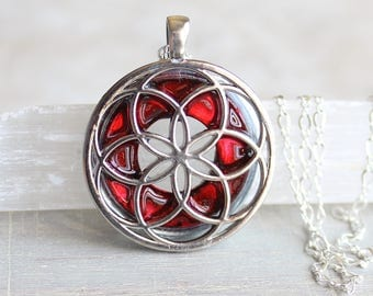 red seed of life necklace, sacred geometry, spiritual jewelry, meditation jewelry, chakra necklace, yoga jewelry, unique gift