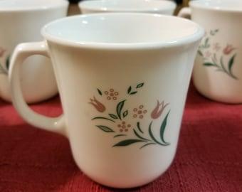 Vintage Corning, Corelle, Tulip Coffee Mugs, circa 1980s