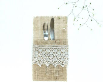 Burlap Silverware Pockets with Lace - Modern Rustic Table Settings