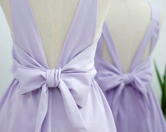 Pale lilac dress lilac party dress lilac prom dress lilac cocktail dress backless dress lilac bridesmaid dresses bow back dress