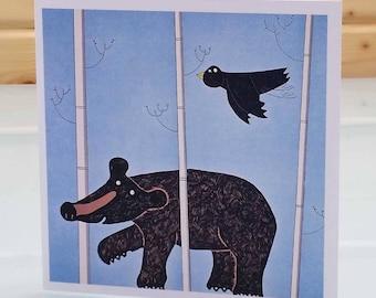 Walking bear card - blank inside card, black bear card, bear greeting card, brown bear card, grizzly bear card, bear birthday card