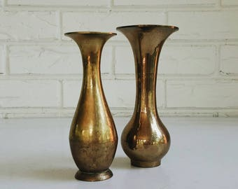 Pair of Vintage Brass Vases from India - Modern Eclectic Decor - Brass Accent