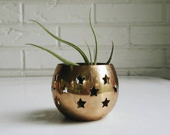 Vintage Brass Air Plant Holder or Votive from India - Bohemian Modern Eclectic Decor