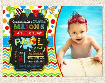 Pool Party Birthday Invitations, Pool Party invitations, Boy, Girl, DIY printable