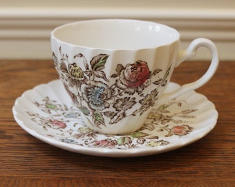 Johnson Bros Staffordshire Bouquet, Vintage English Cup and Saucer