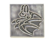 Flying Bat Arts and Crafts Handmade 4x4 Decorative MUD Pi Tile