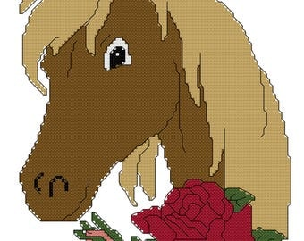 Rose Horse Cross Stitch Pattern