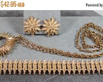 25% Off Collector Set!! Designer, Star-burst Flower Demi Parure, Necklace, Bracelet and Earrings