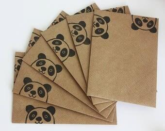 Set of 6 A6 Envelopes, Panda Bear, Original Hand Printed Envelopes, Handcarved Stamp, Brown Kraft Card, Free Postage in UK,