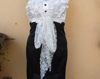 "20%OFF vintage inspired black & white satin,chiffon and lace slip dress/top.....small to 34"" bust...."