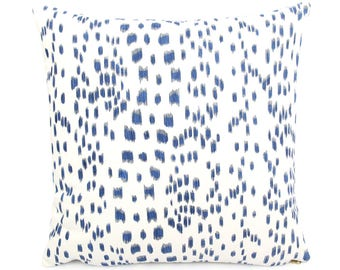 "Brunschwig Fils Les Touches Blue and White Pillow Cover, 18"" 20"" 22"" Square Eurosham or Lumbar, Leopard Animal Print, Spotted Cushion Cover"