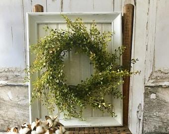 Shabby chic wreath with framed beadboard greenery wreath with greenery cottage decor farmhouse style. Rustic wreaths. Green wreath. Wreaths