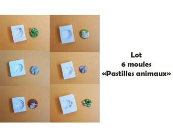 Lot 6 moules en silicone pastilles animaux mignons ronds