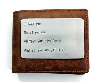 Mens Aluminum Wallet Insert Card, Personalized Hand Stamped Metal, Gift Husband Boyfriend 10 Ten Year Anniversary, Boyfriend Gift