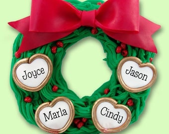 Wreath Family of 4 HANDMADE POLYMER CLAY Personalized Christmas Ornament