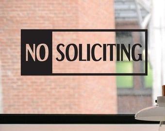 No Soliciting Decal, No Soliciting Sign, No Soliciting Sticker, Business Decal, Window Sticker, Front Door Decal, Window Decal, Window Sign