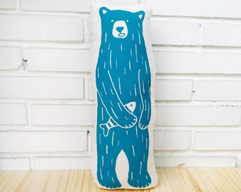Decorative handmade pillows, Kids room decor, Soft Toy Bear, Decorative pillow, Throw pillows, Pillows for kids, Handprinted by Olula