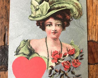 "1900s ""To My Valentine"" Vintage Valentine's Lovely Lady Postcard"