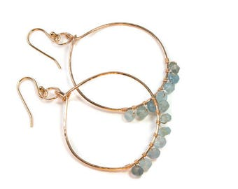 Large Blue Earrings, Rose Gold Earrings,  Rose Gold Filled Wire Hoop, Blue Aquamarine Earring, Natural Stone Jewelry, March Birthstone Hoops