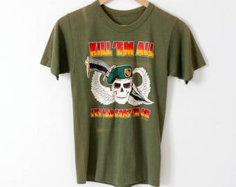 vintage US Army tee, green Kill Em All t-shirt
