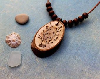 Wood necklace beautiful wild plant