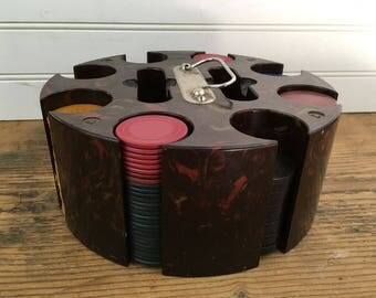 Vintage Poker Chip Set - Poker Chip Carousel Caddy