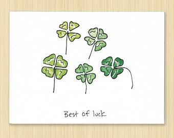 good luck card Saint ST. Patrick Patties day card, clover card four leaf clover card good luck card lucky card