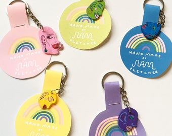 Rainbow Colored Faces 〰 Shrink Film (Polymer Plastic) Keychains 〰 Lightweight Colorful Handmade Keychains