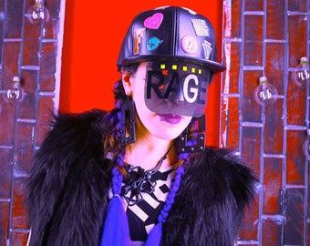 Black patchwork cap