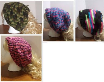 Crochet Adjustable Ponytail Hat Neckwarmer (A46-48, 51)