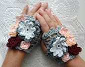 Crochet digital pattern - Bohemian Flower Warmers, boho warmers,cuffs,wrist warmers,crocheted warmers, crochet flowers