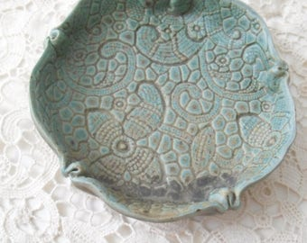 Little Dish in Turquoise Gray with Vintage Lace Pattern
