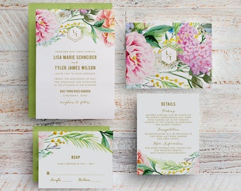 Spring Floral Wedding Invitation, Garden Floral, Botanical Garden, Printed Floral Wedding Invitation, Outdoor Wedding, Park Wedding