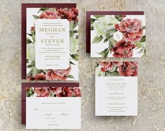 marsala invitations, marsala floral wedding invitations, marsala wedding invitations, burgundy floral wedding invitations, burgundy wedding