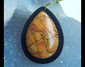 Multi-Color Picasso Jasper,Obsidian Intarsia Gemstone Pendant Bead,Water Drop Pendant,40x30x8mm,13.5g(f0573)