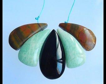 Natural Hemimorphite,Obsidian.Multi-Color Picasso Jasper Gemstone Pendant Set,30x13x6mm,35x18x8mm,24.5g(f0194)
