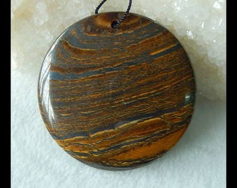 Round Pendant,Iron Tiger'eye Freeform Pendant Bead,49x8mm,43.6g(g0010)