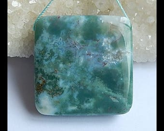 Natural Moss Agate Gemstone  Pendant Bead,36x10mm,29.3g(s0729)