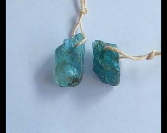 New,Nugget Blue Apatite Gemstone Earring Bead, 16x9x6mm,2.9g