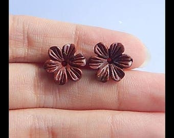 Carved Multi-Color Picasso Jasper Flower Cabochon Pair,12x12x3mm,1.1g