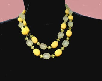 Multistrands Necklace 60s is a Yellow Multistrand Necklace, a Summer Beaded Necklace, Vintage West Germany in Gift Box