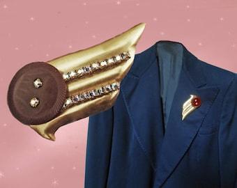 Statement Brooch OOAK with Vintage Bakelite, Heavy Coat Brooch, Made with Vintage, Large Coat Pin, Big Brooch Pin, Aurora Rhinestones