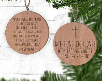 Baptism Ornament, Personalized Christmas Ornament, Christening Ornament, Bible, Jeremiah 29 I know the plans I have for you, Christian Gifts