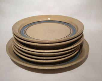 7 English Stoneware Plates - English Pottery - FEN